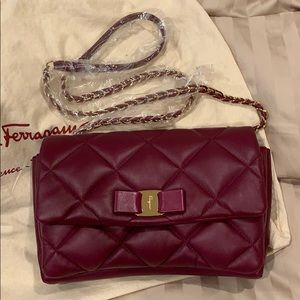 Gelly Quilted Leather Shoulder Bag, Maroon